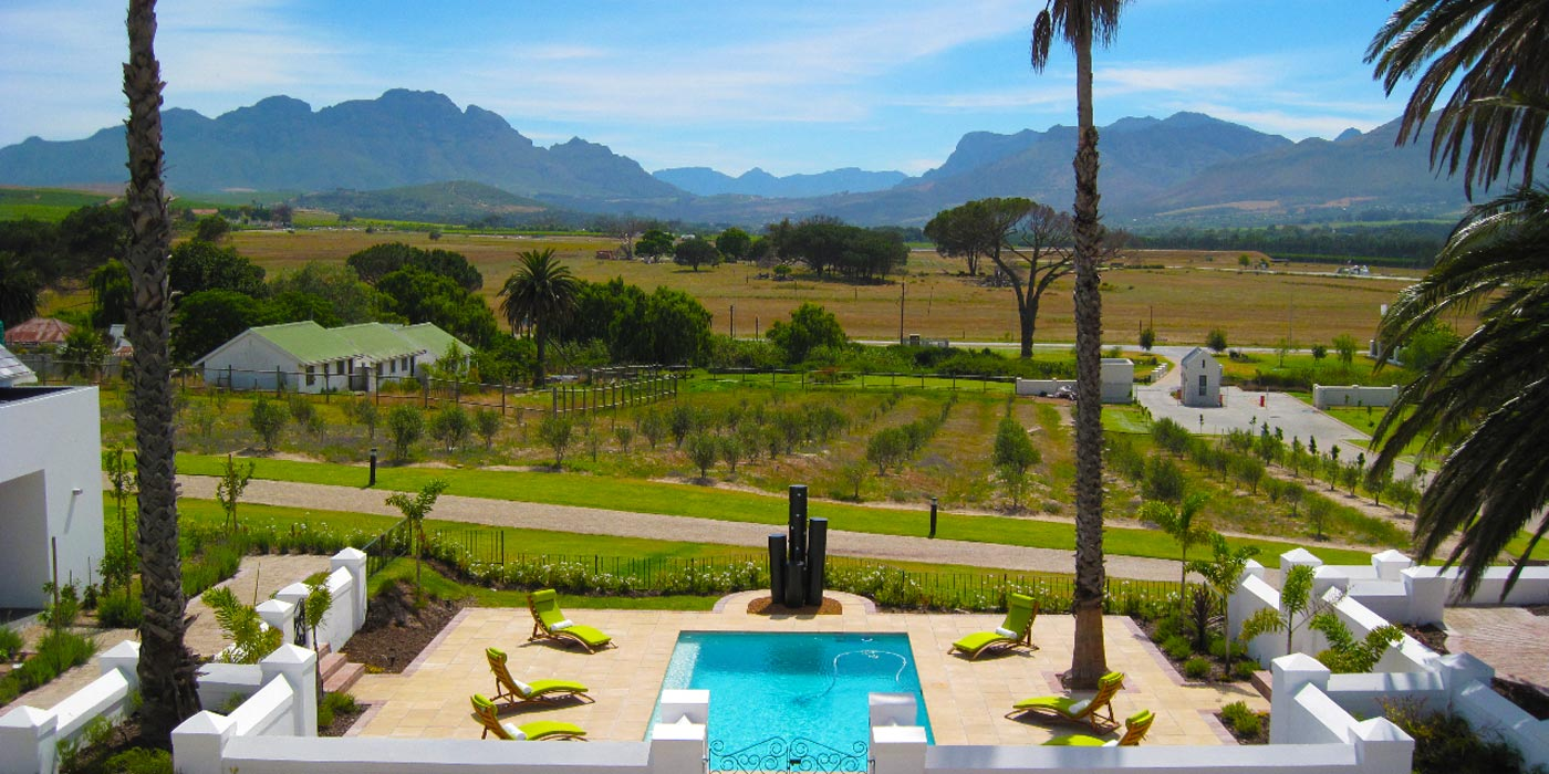Stellenbosch Guest House accommodation pool and facade